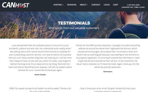 Screenshot of Testimonials Page canhost.ca - Testimonials - captured May 14, 2017
