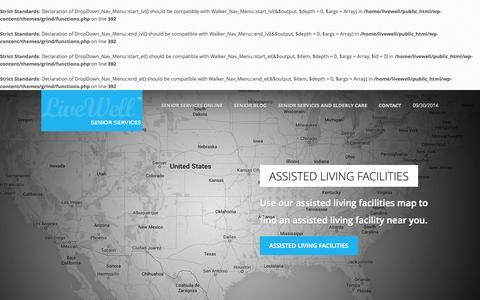 Screenshot of Home Page livewellseniorservices.com - Live Well Senior Services - Senior Living Senior Services Elderly Care - captured Oct. 1, 2014