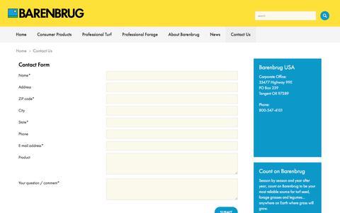 Screenshot of Contact Page barusa.com - Contact Us > Barenbrug USA - captured Oct. 10, 2017