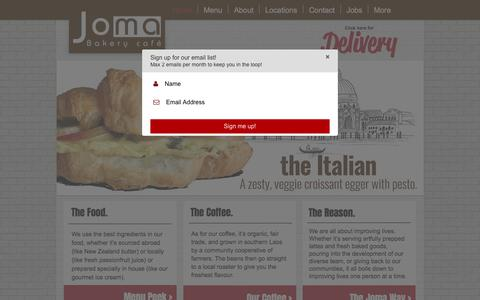 Screenshot of Home Page joma.biz - Joma Bakery Cafe - captured Oct. 16, 2017