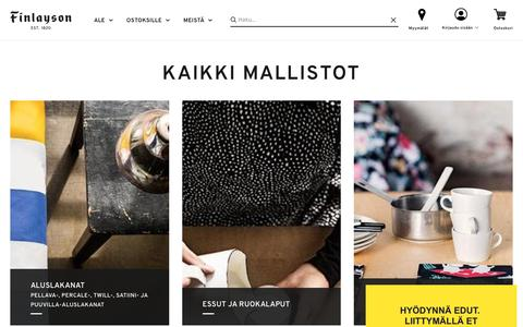 Screenshot of Products Page finlayson.fi - Mallistot est.1820 - captured Feb. 5, 2018