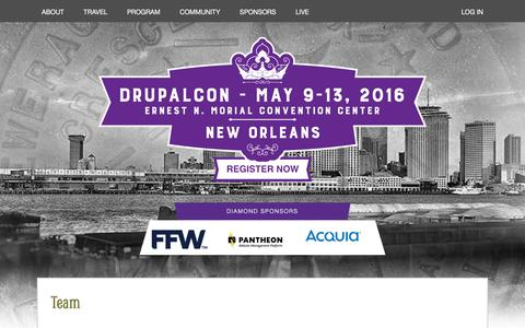 Screenshot of Team Page drupal.org - Team | DrupalCon - captured May 21, 2016
