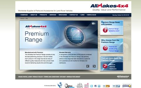 Screenshot of Products Page allmakes4x4.com - Allmakes 4x4 Premium Range - PR2 | Manufactured with Precision | Allmakes 4x4 - captured Oct. 4, 2014