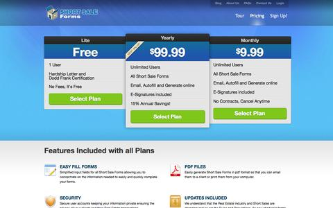 Screenshot of Pricing Page shortsaleforms.com - Short Sale Forms | 3 Simple Pricing Plans - captured Oct. 7, 2014
