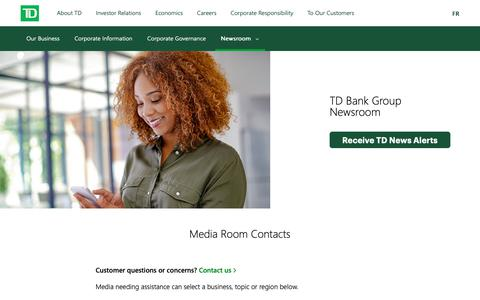 Screenshot of Press Page td.com - TD Newsroom - Media Room Contacts - captured April 19, 2019