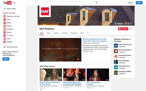 Screenshot of YouTube Page youtube.com - GAF Roofing  - YouTube - captured Oct. 22, 2014