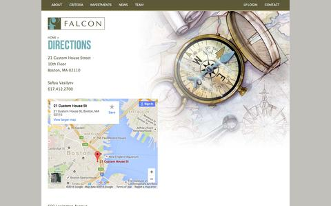 Screenshot of Maps & Directions Page falconinvestments.com - Directions - Falcon Investment Advisors - captured Jan. 8, 2016