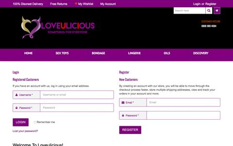 Screenshot of Login Page loveulicious.co.uk - My Account - captured May 5, 2017
