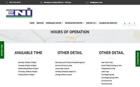 Screenshot of Hours Page goeni.com - ENI Hours of operation - captured Sept. 27, 2018
