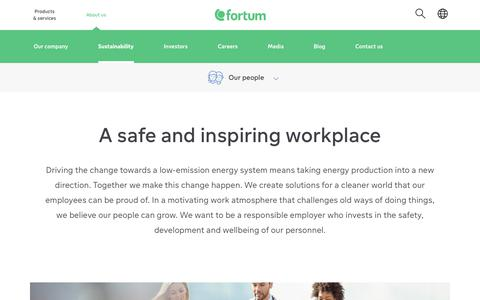 Screenshot of Team Page fortum.com - A safe and inspiring workplace | Fortum - captured July 5, 2019