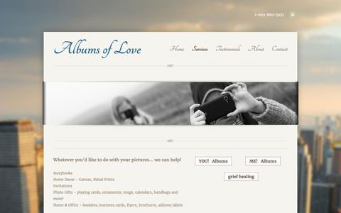 Screenshot of Services Page weebly.com - Services -     Albums of Love - captured May 29, 2017