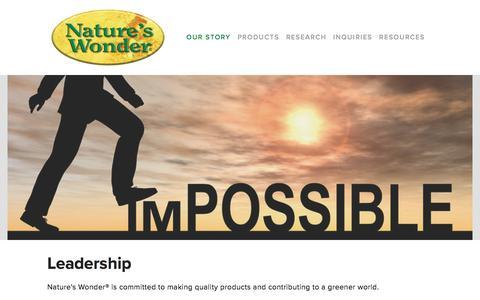 Screenshot of Team Page natureswonder.com - Leadership — Nature's Wonder® - captured Jan. 15, 2018