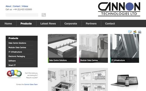 Screenshot of Products Page cannontech.co.uk - Product Range | Cannon Technologies - captured Nov. 1, 2014