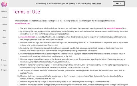Terms of Use | Mindtree