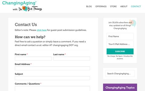 Screenshot of Contact Page changingaging.org - Contact Us - ChangingAging - captured Sept. 27, 2018