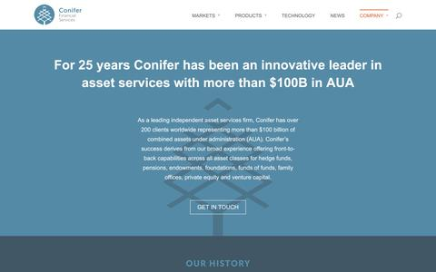 Screenshot of About Page conifer.com - Alternative Asset Administrator | Investment Fund Services | Conifer Financial Services - captured Oct. 2, 2014