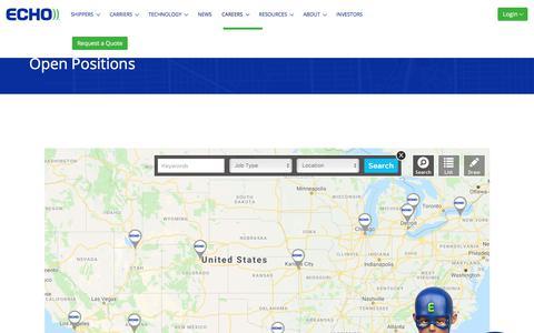 Screenshot of Jobs Page echo.com - Open Positions | Echo Global Logistics - captured July 4, 2019