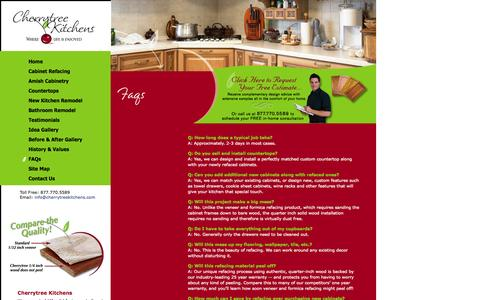 Screenshot of FAQ Page cherrytreekitchens.com - FAQs for Cabinet Refacing, Cabinet Resurfacing, Cabinet Refinishing, Kitchen Remodeling & Bathroom Remodeling in Peoria, Morton, Bloomington, Normal, Quad Cities, Moline, Rock Island, Davenport, Bettendorf Galesburg, Peru, La Salle & Pekin is offered - captured Oct. 2, 2014