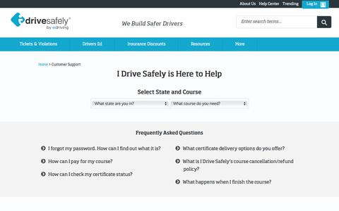 Screenshot of Support Page idrivesafely.com - I Drive Safely - Customer Support - captured June 1, 2018