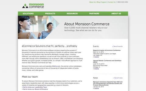 Screenshot of About Page monsooncommerce.com - About Monsoon Commerce - Monsoon Commerce - captured Sept. 16, 2014