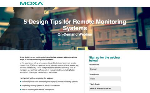 Screenshot of Landing Page moxa.com - Moxa Webinar - 5 Design Tips for Remote Monitoring Systems - captured Jan. 12, 2018