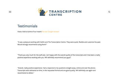 Screenshot of Testimonials Page transcriptioncentre.co.uk - Testimonials — Transcription Services UK | Transcription Centre - captured Sept. 21, 2018