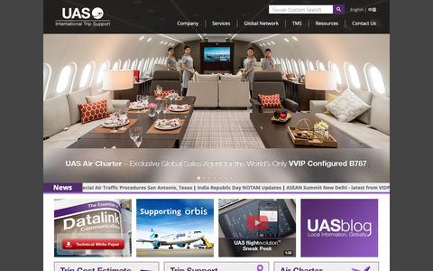 Screenshot of Home Page uas.aero - UAS International Trip Support | Flight Planning, Aviation Fuel, Ground Handling, Trip Support - captured Sept. 26, 2018