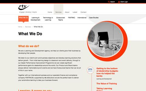 Screenshot of Services Page rtsgroup.com - What We Do RTS Group | RTS Group - engage | develop | inspire - captured Sept. 30, 2014