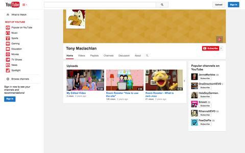 Screenshot of YouTube Page youtube.com - Tony Maclachlan  - YouTube - captured Oct. 26, 2014