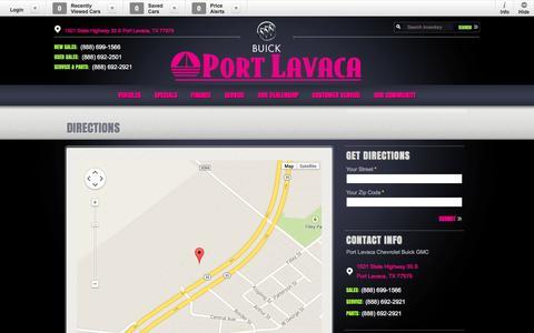 Screenshot of Maps & Directions Page portlavacachevrolet.com - Port Lavaca Chevrolet Buick GMC | New GMC, Buick, Chevrolet dealership in Port Lavaca, TX 77979 - captured Nov. 1, 2014