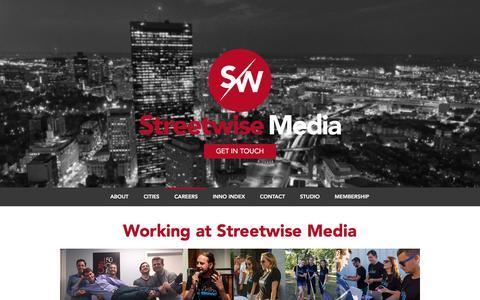 Screenshot of Jobs Page streetwise.co - Streetwise Media | Careers - captured June 29, 2016