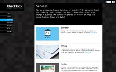 Screenshot of Services Page blackboxdesign.com.au - BLACKBOX : Services : Brand, Design and Digital Agency Perth - captured Sept. 30, 2014
