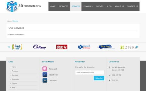 Screenshot of Services Page 3dphotomation.com.au - Service - captured Oct. 29, 2014