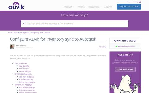 Screenshot of Support Page auvik.com - Configure Auvik for inventory sync to Autotask – Auvik Support - captured Nov. 17, 2017