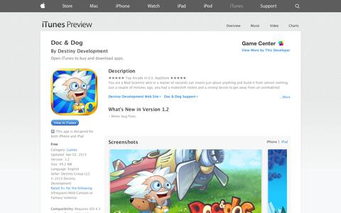 Screenshot of iOS App Page apple.com - Doc & Dog on the App Store on iTunes - captured Oct. 27, 2014
