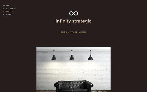 Screenshot of Menu Page infinitystrategic.com - Expertise — infinity strategic - captured Oct. 15, 2017