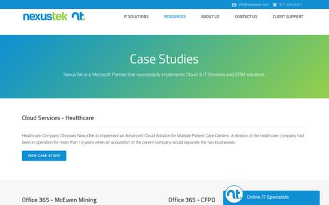 Screenshot of Case Studies Page nexustek.com - IT Case Studies | Microsoft, CRM & Cloud | NexusTek - captured Nov. 28, 2019