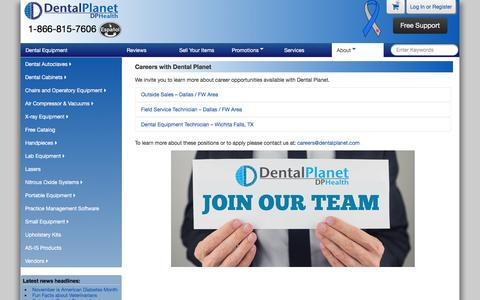 Screenshot of Jobs Page dentalplanet.com - Careers with Dental Planet : New and Refurbished Dental Equipment at Affordable Prices - Dental Planet - captured Nov. 23, 2016
