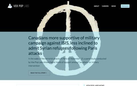 Screenshot of Press Page voxpoplabs.com - News    Vox Pop Labs - captured Feb. 26, 2016