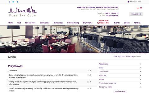 Screenshot of Menu Page pureskyclub.com - Elegancka restauracja w Warszawie - Pure Sky Club - captured Sept. 30, 2014