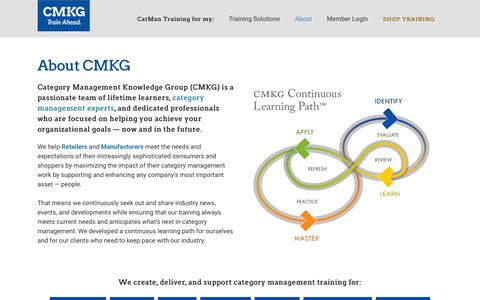 Screenshot of About Page cmkg.org - About CMKG, Leaders in Category Management Training - captured Sept. 27, 2018