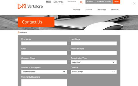 Screenshot of Contact Page vertafore.com - Contact Us | Vertafore - captured July 2, 2016