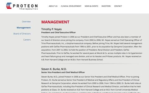 Screenshot of Team Page proteontherapeutics.com - Management | About Us | Proteon Therapeutics - captured Sept. 17, 2014