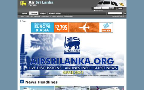 Screenshot of Home Page airsrilanka.org - Air Sri Lanka Forum - captured July 13, 2018