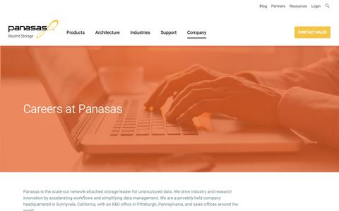 Screenshot of Jobs Page panasas.com - Careers at Panasas | Panasas - captured Dec. 7, 2018
