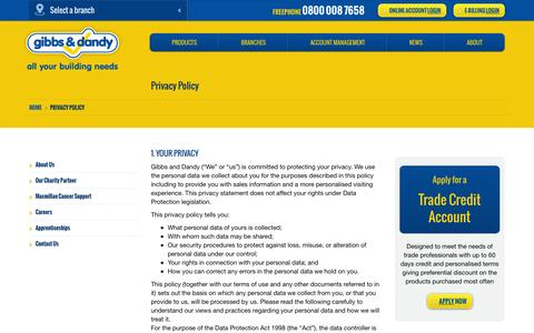 Screenshot of Privacy Page gibbsanddandy.com - Privacy Policy | Builders Merchants | Gibbs & Dandy - captured Oct. 2, 2014