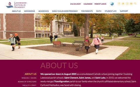 Screenshot of About Page lakewoodcatholicacademy.com - LCA About Us | Lakewood Catholic Academy - captured Aug. 28, 2019