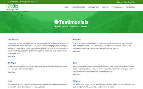 Screenshot of Testimonials Page keralaholidays.com - Reviews on Kerala Holidays| Kerala Tour Feedback| Kerala Holidays Cochin Reviews - captured Oct. 17, 2017