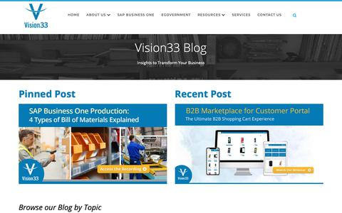 Screenshot of Blog vision33.com - Vision33 Blog - SAP Business One Blog for Small & Midsized Companies - captured March 21, 2019