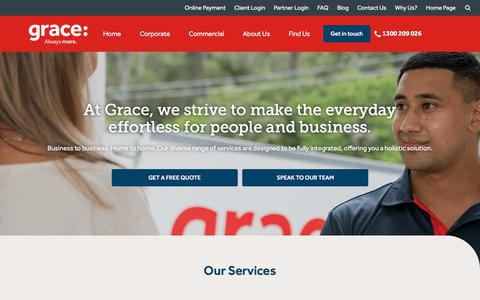 Screenshot of Home Page grace.com.au - Removals, Storage, Information Management, Business & Mobility Services | Grace - captured Sept. 6, 2017